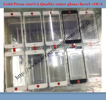 100pcs Best OEM Cold Press Outer Glass with Bezel Frame with oca For iphone 6 6S 6 plus 7 /7 plus Glass+frame+oca by DHL EMS(China)