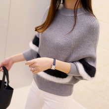 2017 New Spring Women Sweaters Fashion O-Neck Batwing Striped Pullovers Plus Size Loose Knitted Sweaters Female Jumper Tops