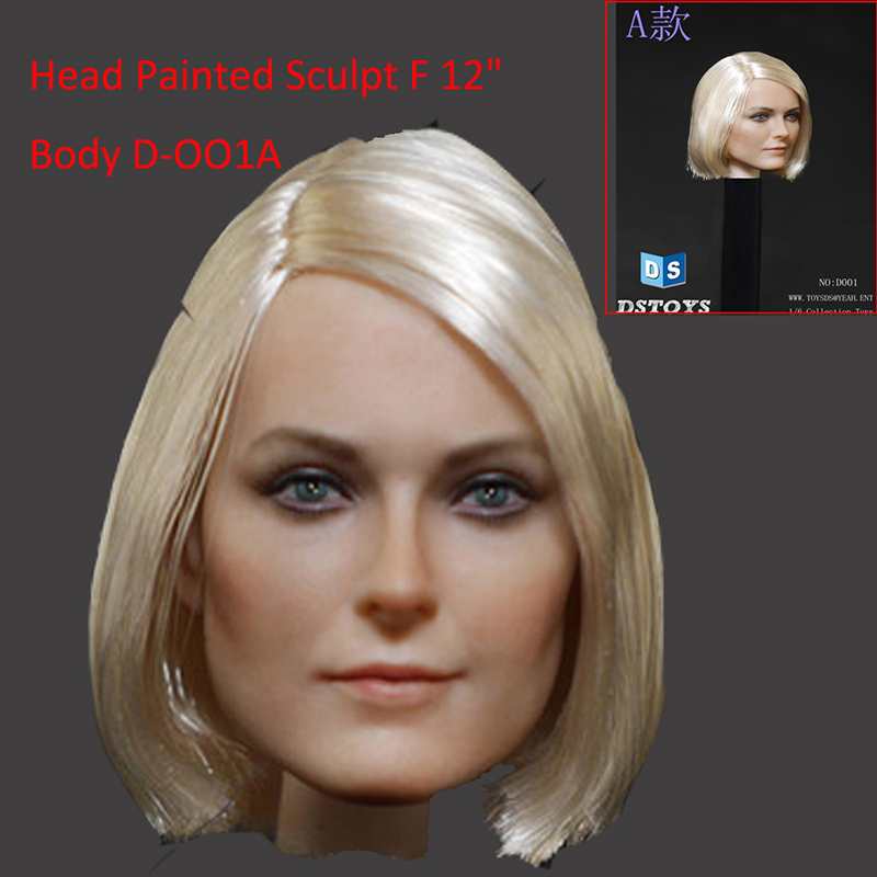 1:6 DSTOYS Action Figure Accessory Female Head Painted Sculpt Model Fit 12 Phicen Kumik/HT/JODOLL Body D-OO1A<br>