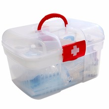 Red First Aid Clear Container Bin Family Emergency Kit Storage Box Detachable Tray Family Medicine Metal Medical storage Box(China)