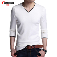 Autumn Winter Mens Sweater Solid V-Neck Slim Fit Mens Pullover Casual Thin Cotton Long Sleeve Striped Edge Mens Sweaters M-4XL(China)