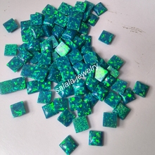 100pcs/lot  Free Shipping  5mm OP36 Peacock Blue Square Opal Synthetic  Square Cabochon Fire Opal Stone