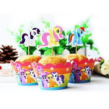 Set 24pcs 6 designs My little Pony Cupcake Topper Pick Magic ponies topper picks Children birthday/event party decorations favor