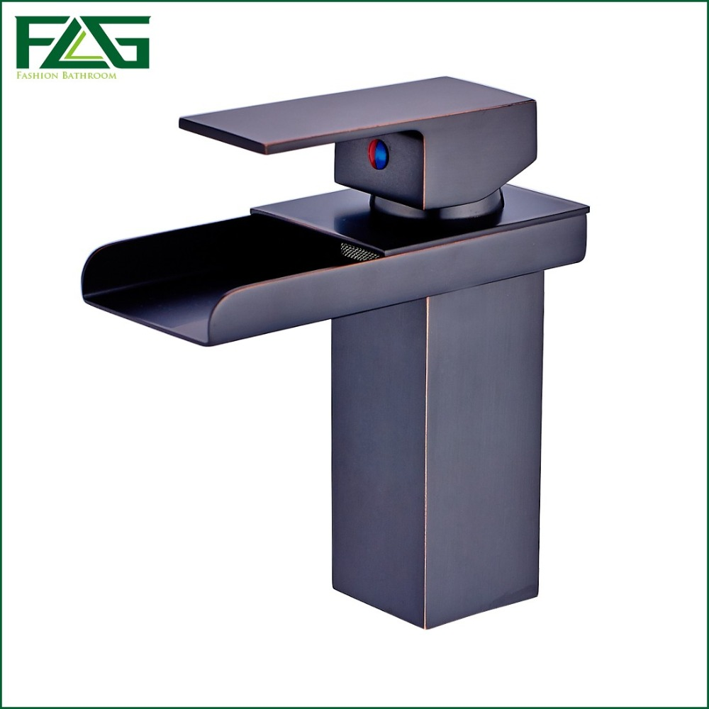 FLG Free Shipping Oil Rubbed Bronze Sink Faucet  Waterfall Bathroom Faucet Bathroom Basin Mixer Tap With Hot And Cold Water M053<br><br>Aliexpress