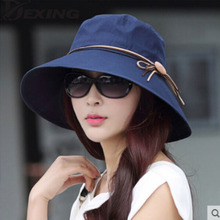 [Dexing]Elegant sun hats Foldable Butterfly knot wide brim Floppy Summer hats for women Outdoor UV Protection(China)