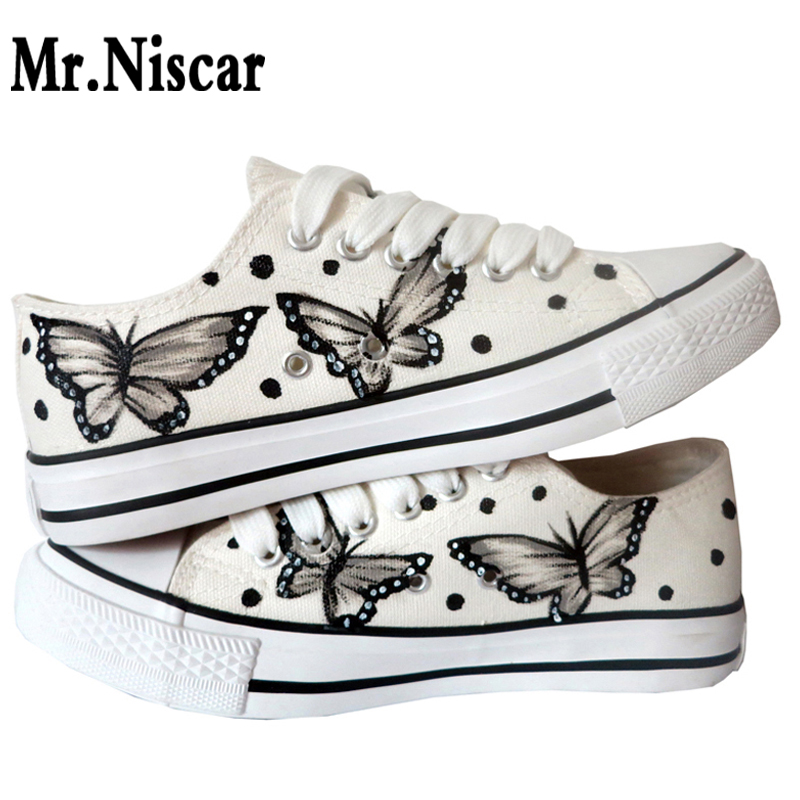 Mr.Niscar Women Fashion Canvas Shoes Hand Painted Buterfly Pattern Sneakers Woman Casual Breathable Shoe All Season Shoes Fit<br>