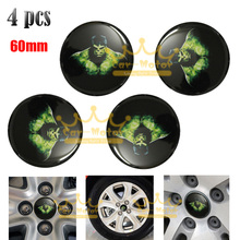 4x Car Motorcycle Universal 60mm 3D Hulk Steering Wheel Center Hub Cap Emblem Badge Stickers 0004(China)