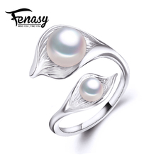 FENASY bohemia 2017 New leaf  Double Pearl Ring trendy natural Pearl Adjustable charms Rings for women pearl Jewelry aliexpress