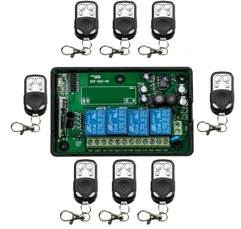 AC85v~250V 110V 220V 230V 4CH RF Wireless Remote Control Relay Switch Security System Garage Doors &amp; Rolling Gate Electric Doors<br>