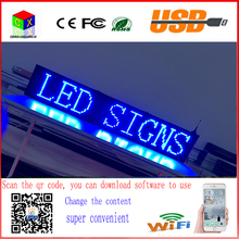 40X8 inch P10 indoor blue LED sign wireless and usb programmable rolling information 1000x200MM led display screen(China)