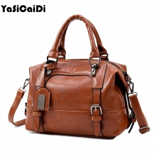 YASICAIDI High Quality Oil Leather Women Handbags Large Retro Leather Shoulder Bags Ladies Famous Designer Black Women Bags Sac(China)
