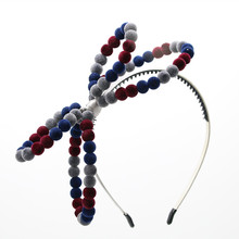 HOT New winter velvet beads bow with wire handmade large bow cute hairbands beads bow hair accessories