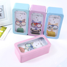 Creative Cartoon Cat Double Layer Tin Pencil Case Storage Box Multi-Function Stationery Organizer Case Stationery Kids