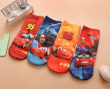4pairs/lot cotton children cartoon novelty socks boy kids Cars-PLEX 3D printed Brand ankle socks