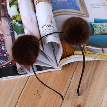 1 pcs Hot Sale Trendy Sweet Pom Fur Ball Furry Ears Fluffy Rabbit Fur Ball Women Headband Hair band(China)