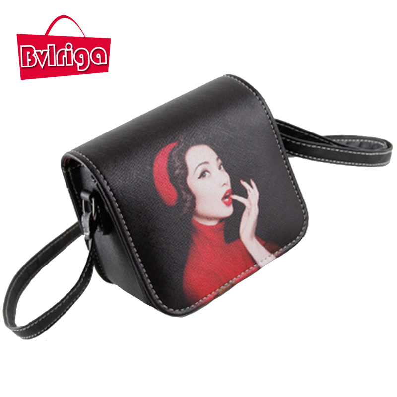 BVLRIGA Crossbody bags for women messenger bags leather shoulder bags printing fashion small bag designer handbag high quality