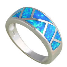 Top sell New Cool style Blue fire Opal Silver Stamped Rings for women fashion jewelry USA size #6 #7 #8 #9 #10 OR530A(China)