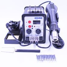 8586 ESD Hot Air Soldering Station LED Digital SMD Solder Iron Desoldering Rework Station Heat Air Gun With Free 12pc Iron Tips