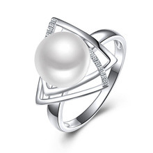 Sinya 925 sterling silver Ring with 9-10mm natural freshwater pearl Fine Jewelry wedding brand Engagement ring for women lover(China)