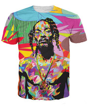 2017 New Style 3D T Shirt Super Rapper Snoop Doggy Dogg Tie Dye Printed Short Sleeve Tee Shirts Casual Hip Hop Streetwear Tops