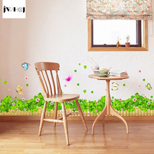 JWHCJ green flower fences sitting room sofa bedroom Free stickers labels DIY sticker Wall Sticker Waist sticker Home Decor