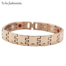 Fashion jewelry Rose Gold plating Germanium Infrared Ray Negative Ions balance Power chain link Healthy Bracelets for women
