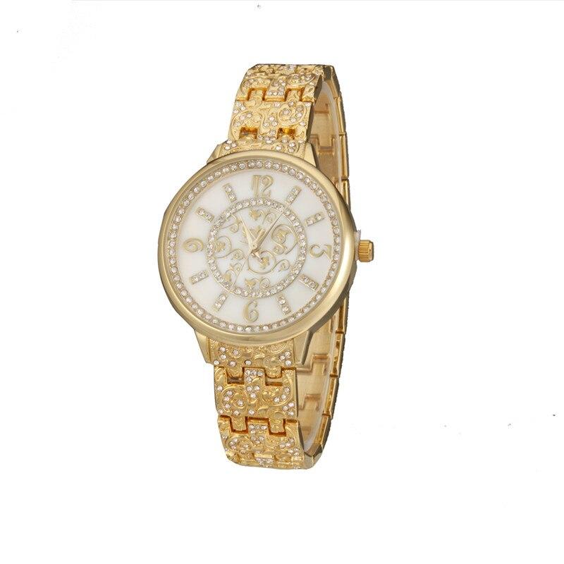 Geneva Watch Women Gold Stainless Steel Watches Ladies Quartz Clock Fashion Women Wristwatch Relogio Feminino<br><br>Aliexpress