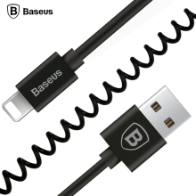 Baseus Flexible Elastic Stretch USB Cable Data Sync Charging Spring Cable For iPhone 7 6 6S Plus 5 5s SE iPad Mobile Phone Cable(China)