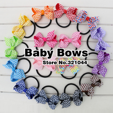 Babymatch 80pcs/lot 3'' Chevron Ribbon Hair Bows Girls Printed Bow Knot With Elastic Ponytail Holder Hair Accessories(China)