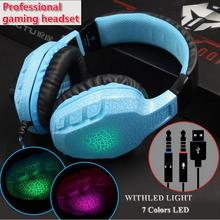 Original NUBWO NO-3000 Stereo headphones 7colors LED light glow in the dark Gaming Headset with Mic For PC Gamer vs steelseries