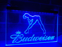 LA627- Budweiser Sexy Dancer Happy Hour Bar Neon Sign     home decor  crafts