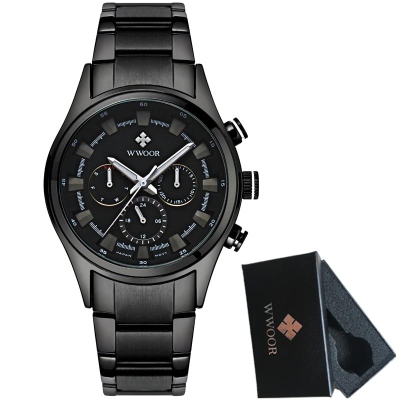 2017 WWOOR Mens Watches Top Brand Luxury Quartz Watch Men Black Steel Waterproof Sport Watch Casual Clock Male Relogio Masculino<br>
