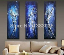 Hand Painted Golf Player Modern Wall Painting 3 Piece Abstract Blue Canvas Art Sets Picture Living Room Decorations