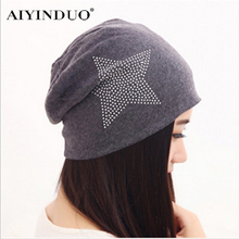 Fashion Rhinestone Star Pattern Winter Skullies Beanies For Men and Women Hip-Pop Style Hats Warm Knitted Cotton Turban 11 Color(China)