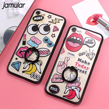 Buy JAMULAR Ring Grip Sexy Lips Eyes Pattern Cover Case iphone 7 Plus Case Hollow Relief Phone Cases iphone 8 6 6s plus Case for $1.59 in AliExpress store