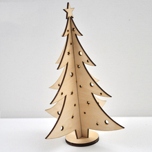 QITAI 4Pcs/Lot Creative Wooden Three-dimensional Christmas Trees Decorative Mini Model Gifts Small Present WF277