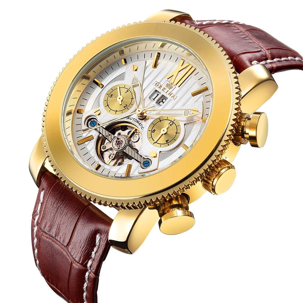 MG ORKINA Top Brand Luxury Men Watches Tourbillion Date Sport Mechanical Auto Watch Genuien Leather Wristwatch Reloj Hombre+Box<br>
