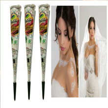 Henna tatoeages wit plakken, schminken henna lichaam verfpigmenten, henna tattoo pen plant in India wedding party