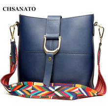 CHSANATO Split Leather Women Composite Bag Cowhide Leather Shoulder Work Handbag Women Bucket Bag