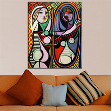 Bigger sizes print oil painting for wall pic Pablo Picasso GIRL BEFORE A MIRROR Estate Signed & Numbered Abstract Canvas Prints