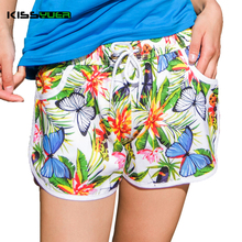KISSyuer Quick-drying Drawstring elastic waist Butterfly flowers Floral Board shorts plus size Women board shorts KBS1022