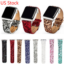 Luxury Glittery Bling Christmas PU Leather Band for Apple Watch Series 3 2 1 Strap Bracelet for iWatch 42mm 38mm Watchbands(China)