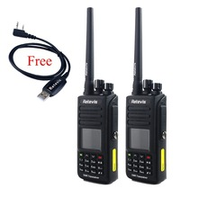 2pcs IP67 Waterproof GPS Walkie Talkie DMR Digital Retevis RT8 5W VHF 136-174Mhz 1000CH LCD Handy A9115AGVHF+A USB Cable
