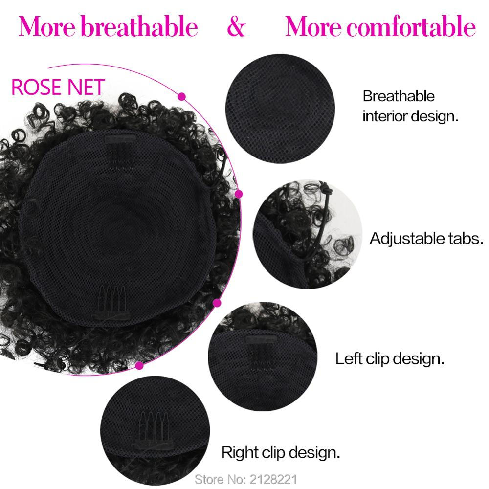 High Puff Afro Curly Ponytail Drawstring Short Afro Kinky Curly Pony Tail Clip in on Synthetic Curly Hair Bun Made of Kanekalon  (9)