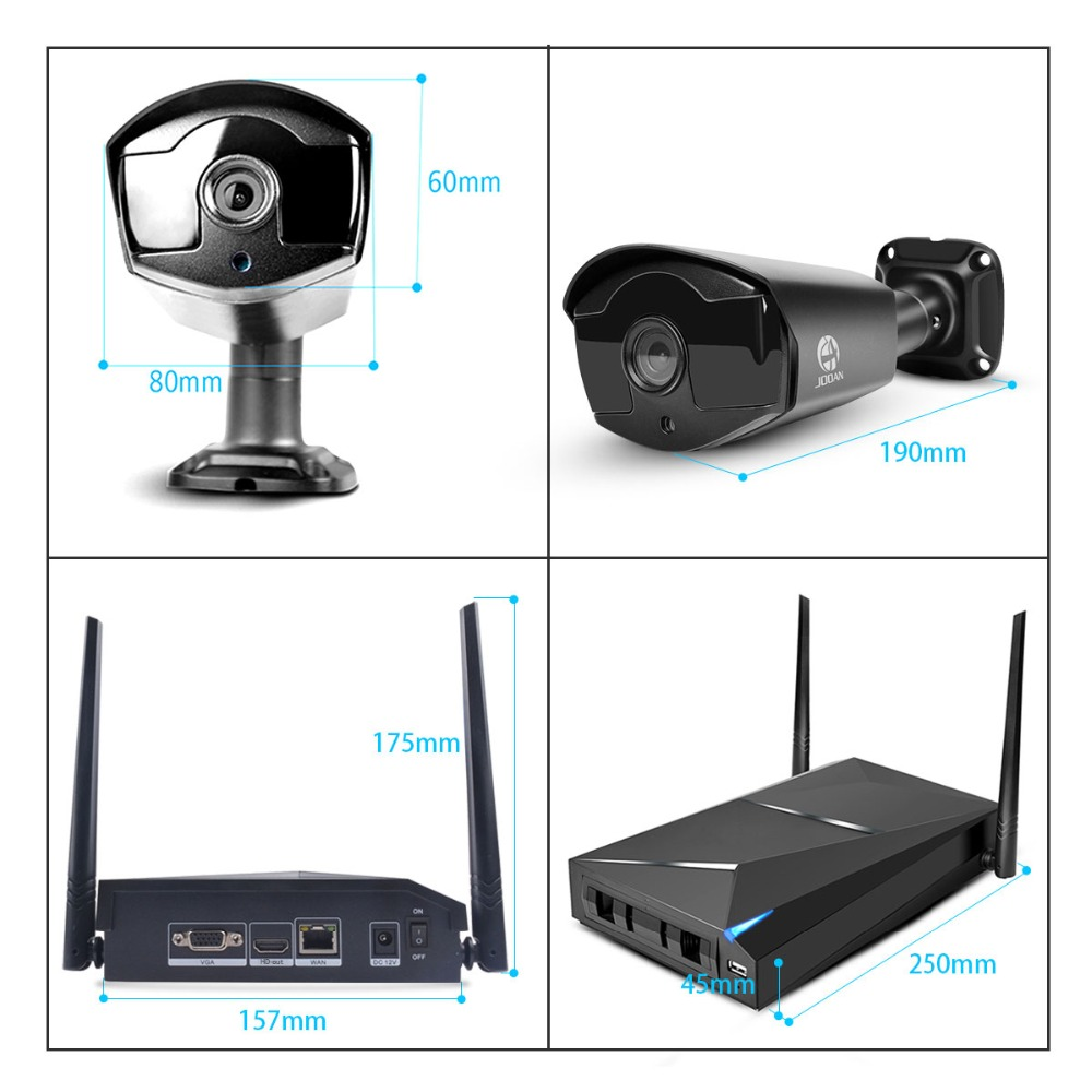 JOOAN 4CH CCTV System Recorder 4PCS 1080P Outdoor Weatherproof Security IP Camera 4CH NVR DayNight Video Surveillance Kits (5)