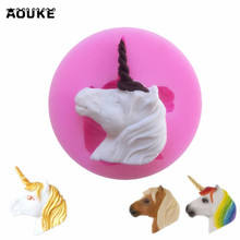 Aouke 1Pc Unicorn Shape Cake Mold Fondant Cake 3D Food Grade Silicone Mould DIY Baking Tools Sugar Lace Mold Chocolate M044(China)
