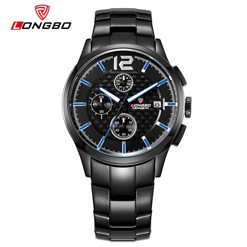 LONGBO luxury mens quartz watch full steel Waterproof Business Watch True 3 small dial fashion sports watch erkek kol saati<br><br>Aliexpress