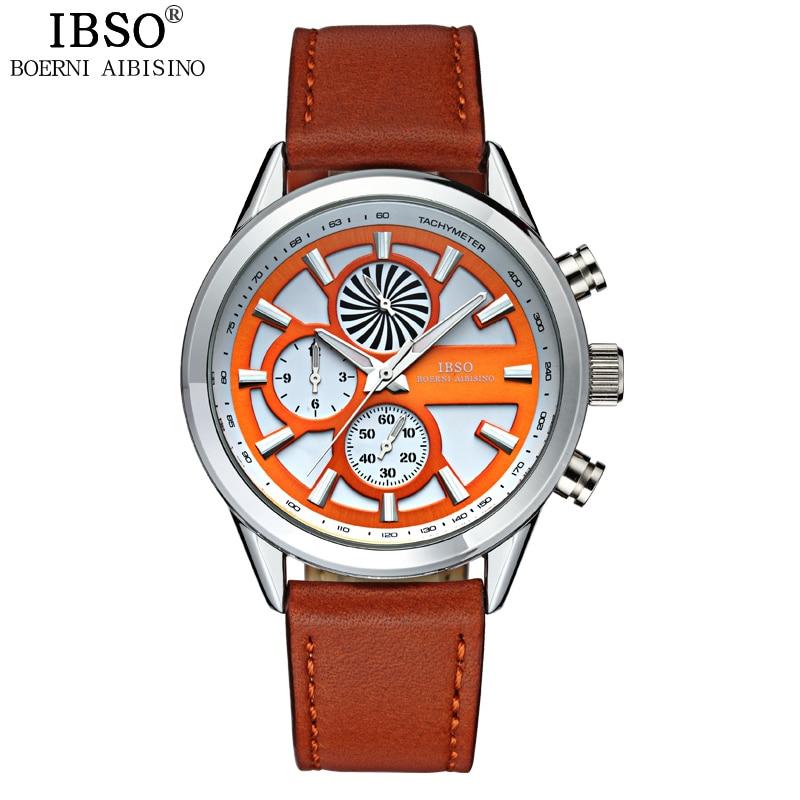2017 IBSO Leather Starp Mens Watches Top Brand Luxury Genuine Sports Watches For Men Fashion Quartz Clock Men Relogio Masculino <br>