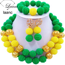 Laanc Yellow and Green Set of African Jewelry for Ladies Nigerian Wedding Beads Necklace and Earrings SP2R028