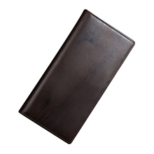 Vintage Genuine Leather Men Wallet Long Male Purse Brown Card Holder Coffee Leather Wallet Men Coin Purse Solid Male Bag(China)